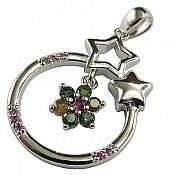مدال نقره تورمالین طرح ستاره
