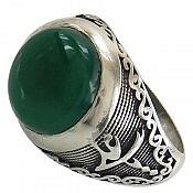 انگشتر نقره عقیق سبز طرح یاعلی یازهرا مردانه
