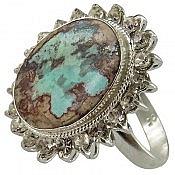 انگشتر نقره فیروزه نیشابوری طرح سلطنتی زنانه
