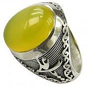 انگشتر نقره عقیق شرف الشمس رکاب یا زهرا یا علی مردانه