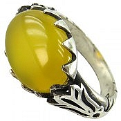 انگشتر نقره عقیق زرد شرف الشمس طرح صفوی مردانه
