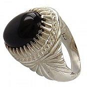 انگشتر نقره عقیق سیاه مردانه