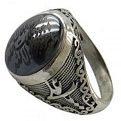انگشتر نقره حدید هفت جلاله رکاب یا زهرا یا علی مردانه