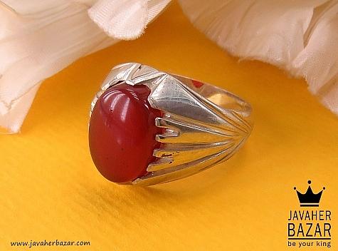 انگشتر نقره عقیق شاهانه مردانه - 40707