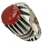 انگشتر نقره عقیق دور چنگ مردانه