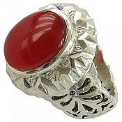 انگشتر نقره عقیق طرح سلطنتی مردانه دست ساز