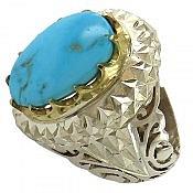انگشتر نقره فیروزه شاهانه مردانه