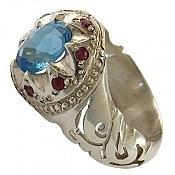 انگشتر نقره توپاز یاقوت شاهانه مردانه