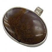 مدال نقره عقیق خزه ای دست ساز
