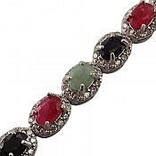 دستبند نقره یاقوت و زمرد فاخر زنانه