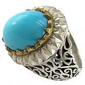 انگشتر نقره فیروزه مصری شاهانه مردانه
