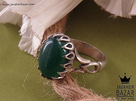 انگشتر نقره عقیق سبز دور اشکی مردانه