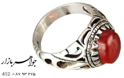 انگشتر نقره عقیق درشت مردانه دست ساز - 412