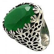 انگشتر نقره جید شاهانه مردانه