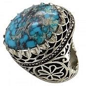 انگشتر نقره فیروزه نیشابوری درشت و شاهانه مردانه
