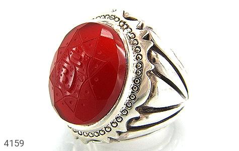 انگشتر نقره عقیق یمن سرخ الملک لله مردانه دست ساز - 4159