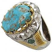انگشتر نقره فیروزه نیشابوری زمرد شاهانه مردانه دست ساز