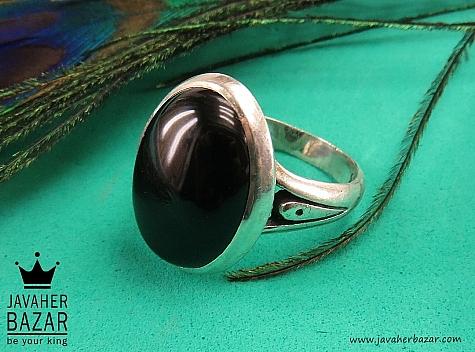 انگشتر نقره عقیق سیاه مردانه - 41738