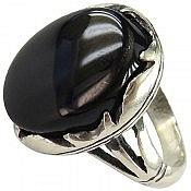 انگشتر نقره عقیق سیاه درشت مردانه