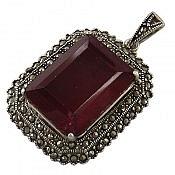 مدال نقره نگین یاقوت سنتاتیک