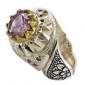 انگشتر نقره آمتیست و برلیان اصل شاهانه مردانه