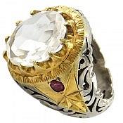 انگشتر نقره در نجف یاقوت الماس تراش مردانه دست ساز