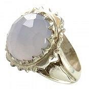انگشتر نقره عقیق کبود الماس تراش مردانه دست ساز