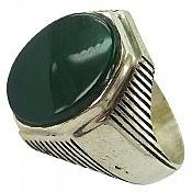 انگشتر نقره عقیق سبز طرح مهرداد مردانه