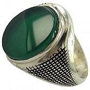 انگشتر نقره عقیق سبز طرح شهراد مردانه