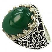 انگشتر نقره عقیق سبز طرح سامان مردانه
