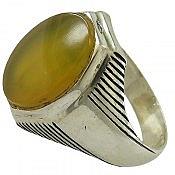 انگشتر نقره عقیق زرد طرح مهرداد مردانه