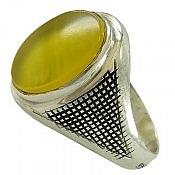 انگشتر نقره عقیق زرد مردانه