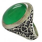 انگشتر نقره عقیق سبز طرح یاشار مردانه