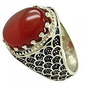 انگشتر نقره عقیق قرمز طرح سامان مردانه