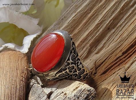 انگشتر نقره عقیق قرمز طرح یاشار مردانه