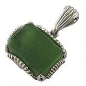 مدال نقره یشم هندی خوش رنگ طرح کلاسیک