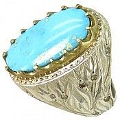انگشتر نقره فیروزه نیشابوری خوش رنگ و اعلاء مردانه دست ساز
