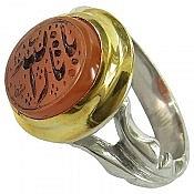 انگشتر نقره عقیق یمن یا ثارالله مردانه دست ساز
