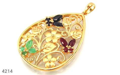 عکس مدال نقره یاقوت و زمرد پروانه ای درشت زنانه