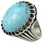 انگشتر نقره فیروزه کرمانی خوش رنگ مردانه