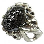 انگشتر نقره حدید صینی هفت جلاله دور اشکی مردانه