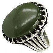 انگشتر نقره یشم یمن خوش رنگ مردانه
