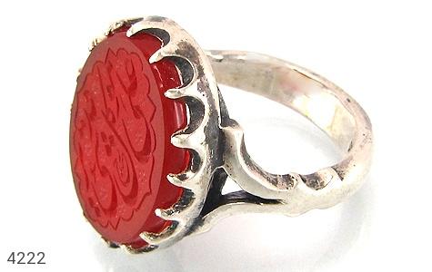 انگشتر نقره عقیق سرخ خطی مردانه دست ساز - 4222