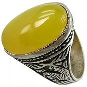 انگشتر نقره عقیق زرد شرف الشمس رکاب ضامن آهو مردانه