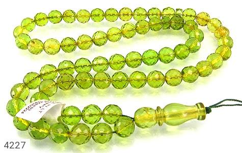 عکس تسبیح کهربا سبز تراش 66 دانه لیتوانی (دریای بالتیک) کمیاب