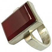 انگشتر نقره عقیق قرمز چهارگوش مردانه