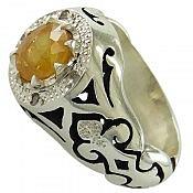 انگشتر نقره یاقوت و برلیان اصل شاهانه مردانه