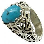 انگشتر نقره فیروزه کرمانی طرح سلطنتی مردانه