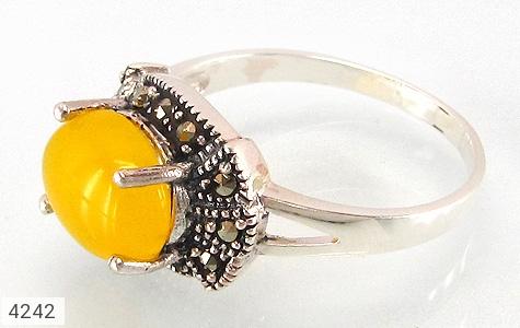 عکس انگشتر نقره مارکازیت و عقیق زرد شرف الشمس زنانه