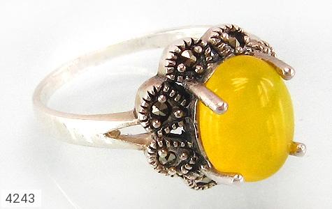 عکس انگشتر عقیق شرف الشمس طرح گل زنانه